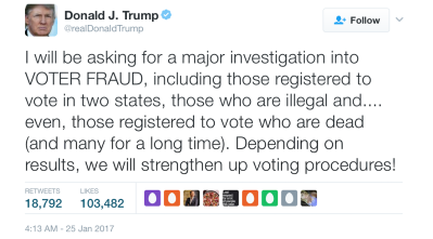 Trump tweet on investigating voter fraud