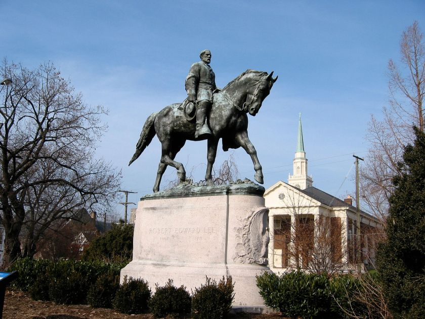 The Robert Edward Lee statue in Emancipation Park