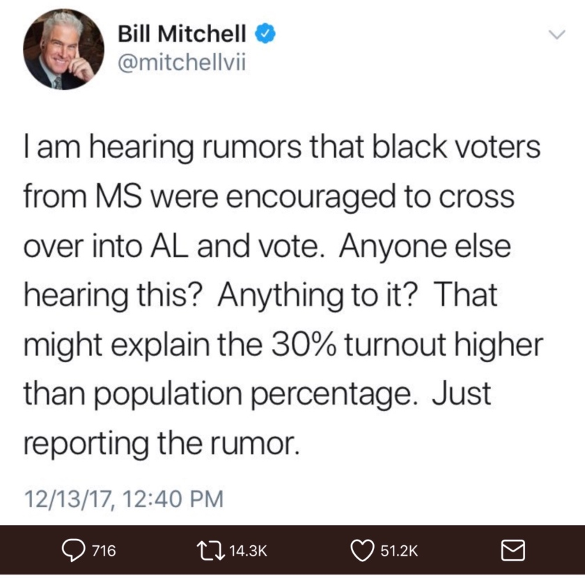 Bill Mitchell's tweet alleging voter fraud in the Alabama Senate special election