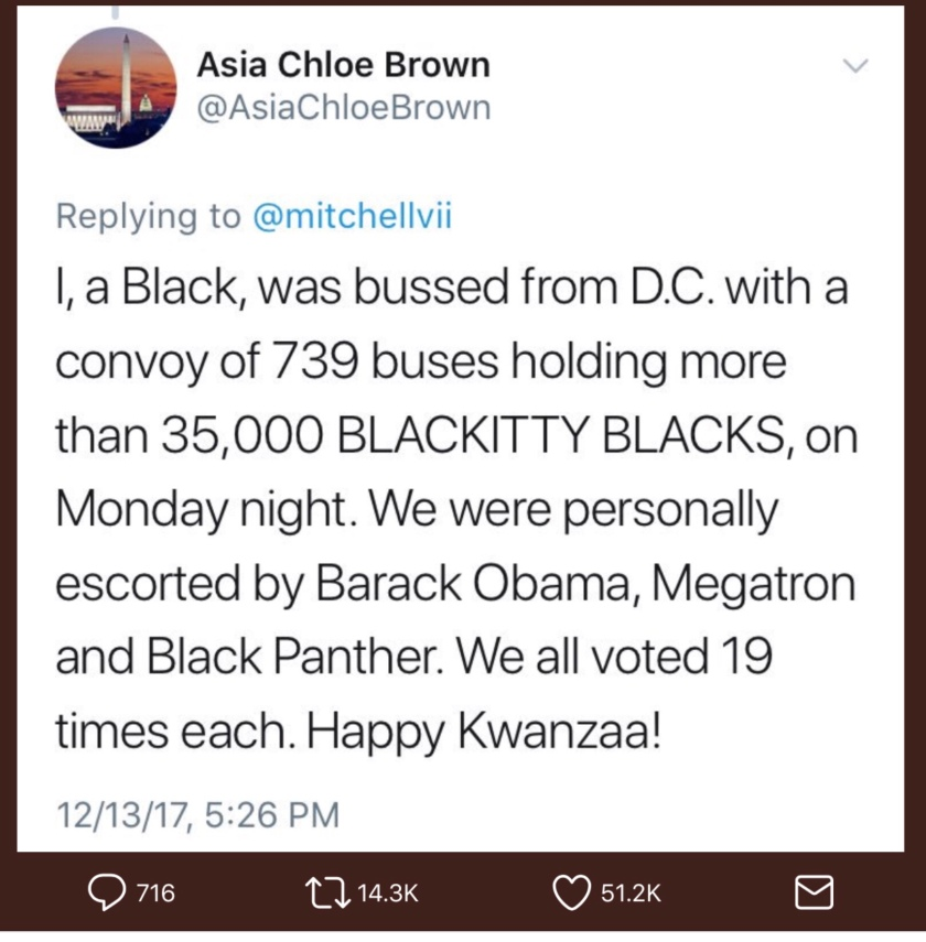 Asia Chloe Brown's tweet responding to Bill Mitchell
